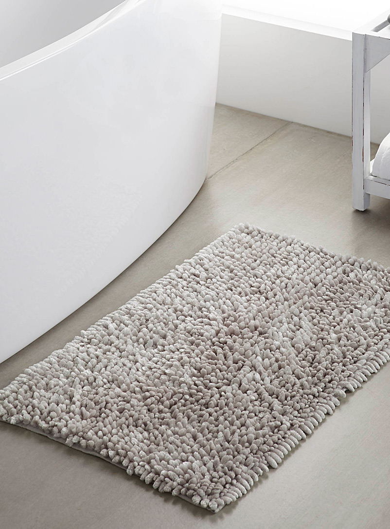 Silky chenille bath mat  50 x 80 cm - Bath Rugs - Light Grey