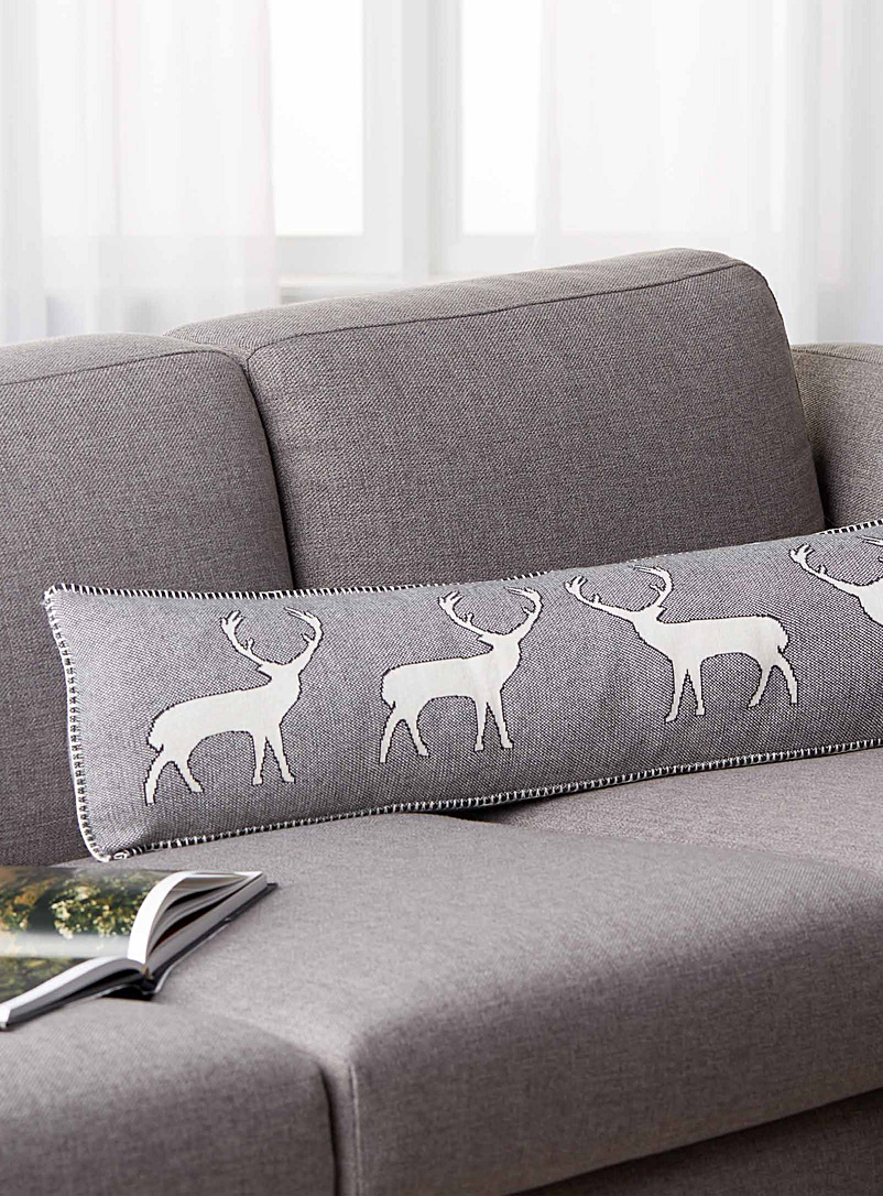 Simons Maison Patterned Grey Reindeer parade cushion  20 cm x 80 cm