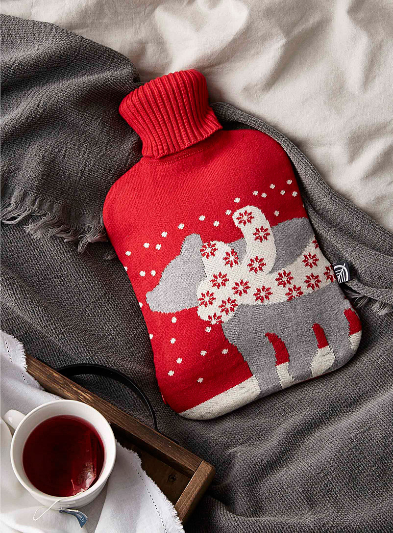 Polar bear hot-water bottle - Pillow Shams & Bed Skirts - Red