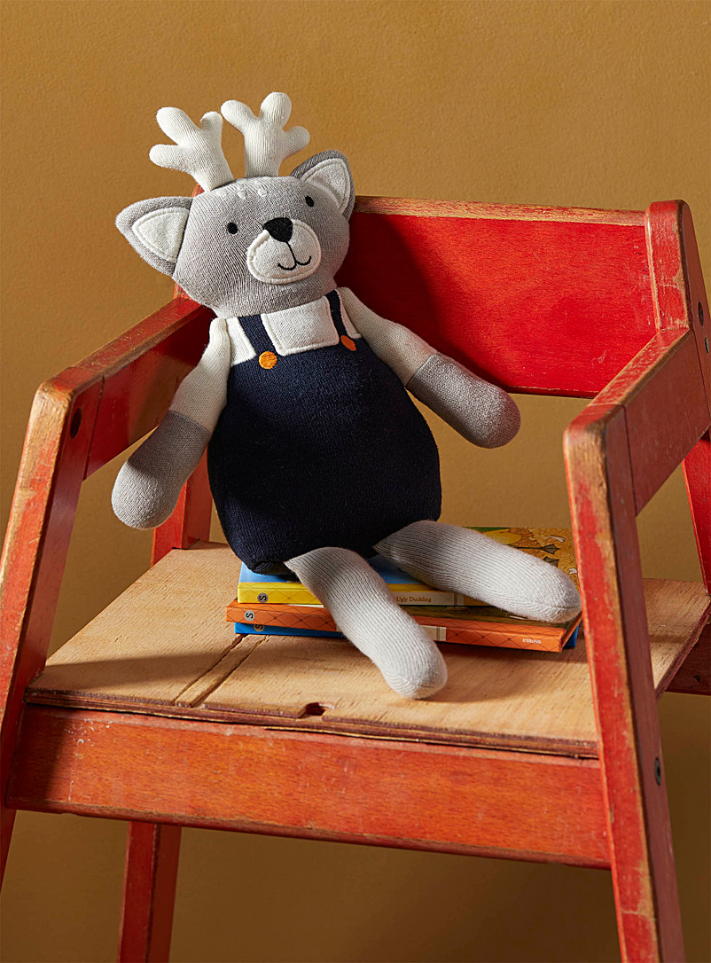 Fawn in overalls plush toy