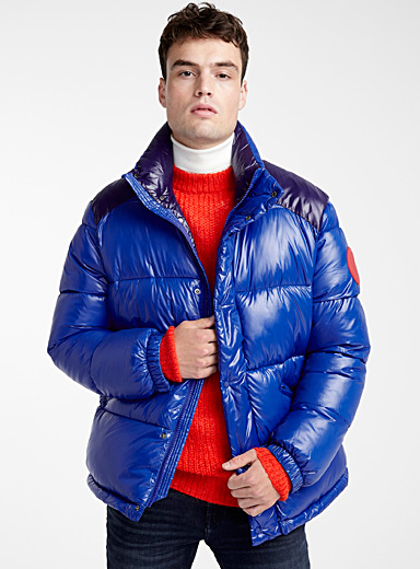 Shiny two-tone puffer jacket