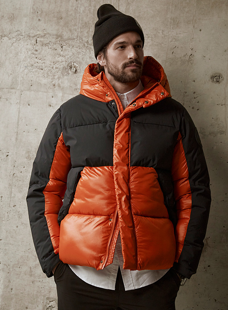 Save the Duck Patterned Orange Luma mixed-media puffer jacket for men