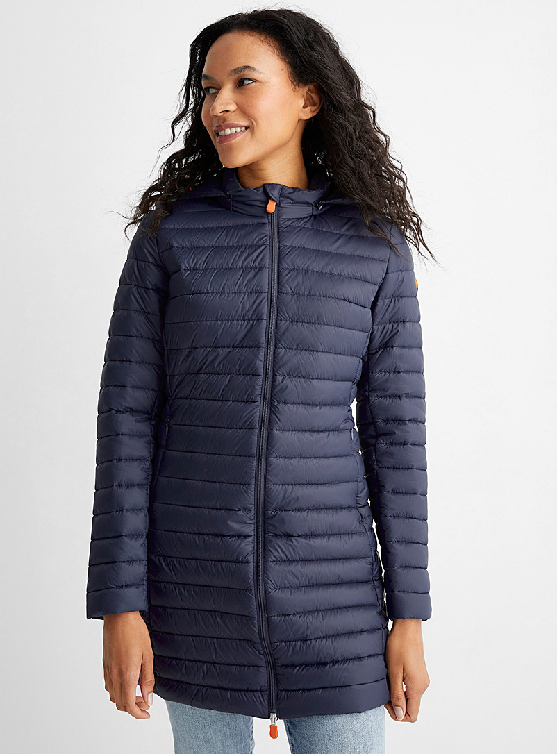 Save the Duck Dark Blue Daisy long light hooded puffer jacket for women