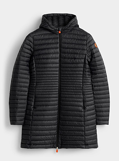 Save the Duck Black Hooded faux-down quilted coat for women