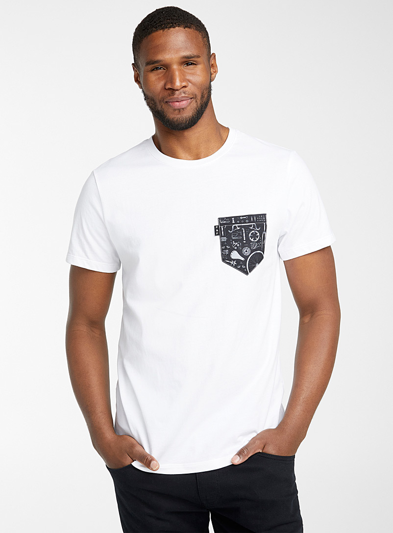 Poches & fils White Bécane pocket T-shirt for men