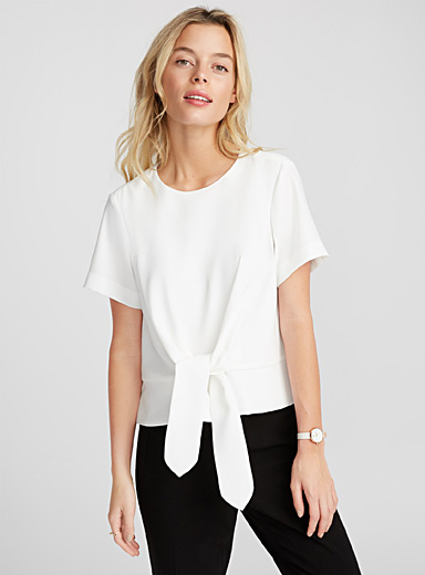 Boxy draped-knot blouse