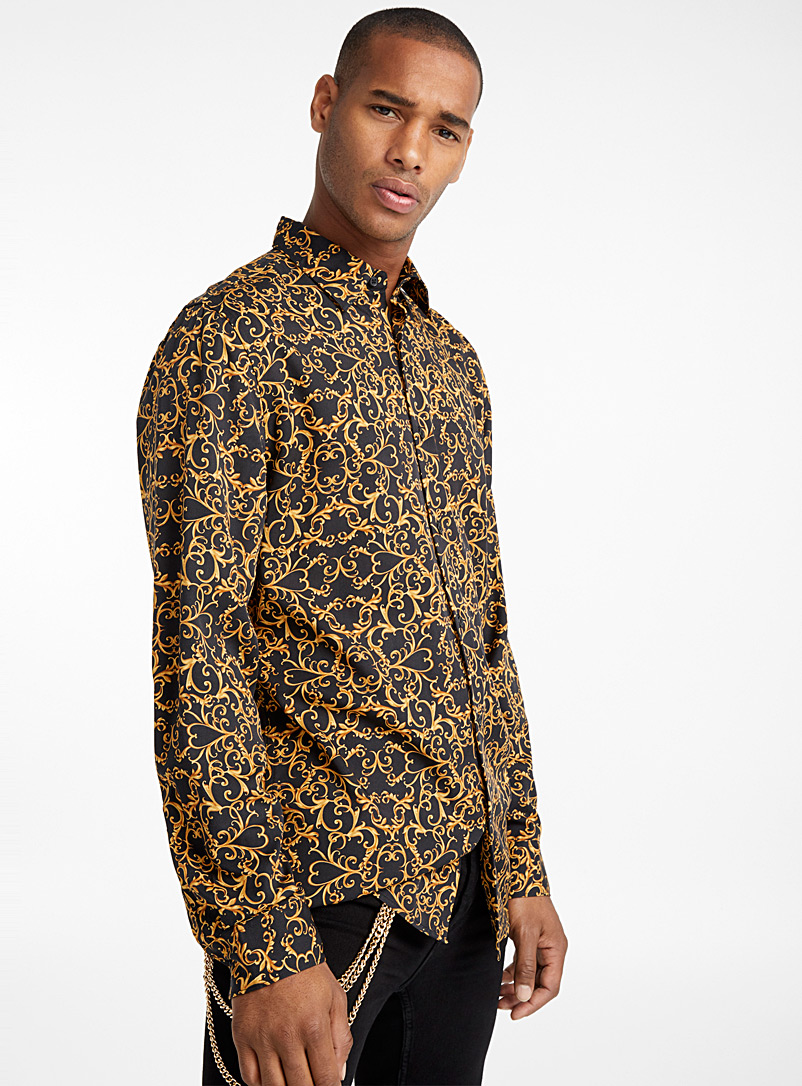 Rococo fluid shirt  Modern fit - Patterns - Black