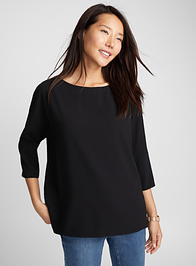 Buttoned-back loose blouse