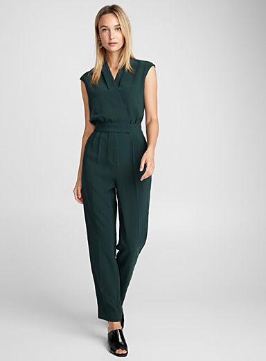 Crossover cap-sleeve jumpsuit
