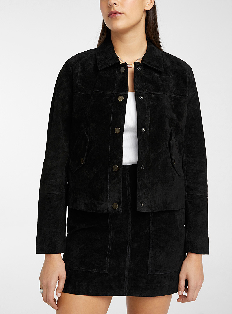 Icône Black Flap-pocket suede jacket for women