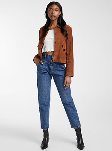 Flap-pocket suede jacket
