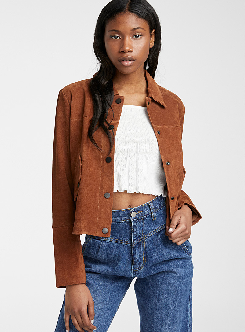 Icône Brown Flap-pocket suede jacket for women
