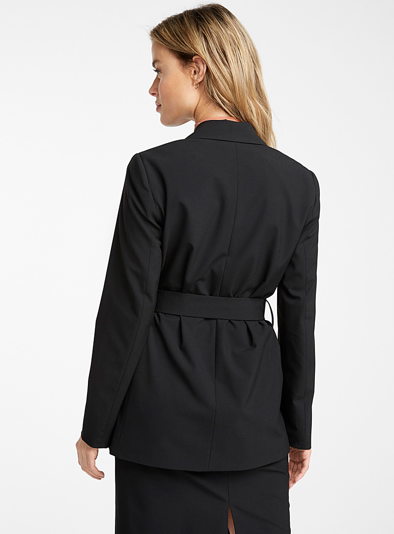 Icône Black Recycled polyester long belted jacket for women