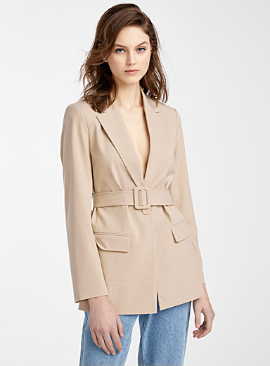 Recycled polyester long belted jacket