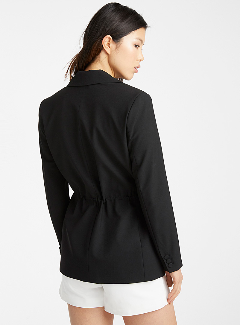 Icône Black Recycled polyester drawstring-waist jacket for women