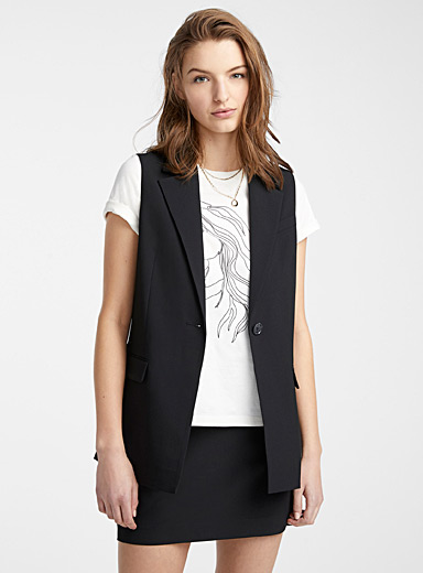 Recycled polyester sleeveless suit jacket