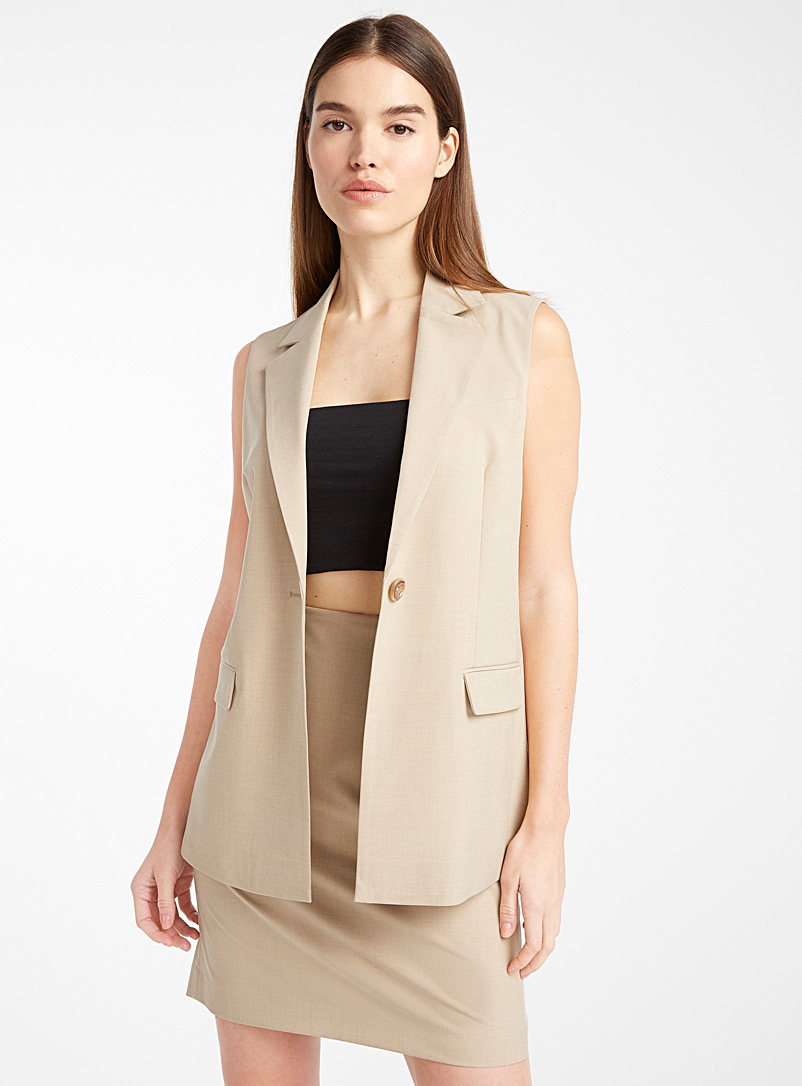Icône Cream Beige Recycled polyester sleeveless suit jacket for women