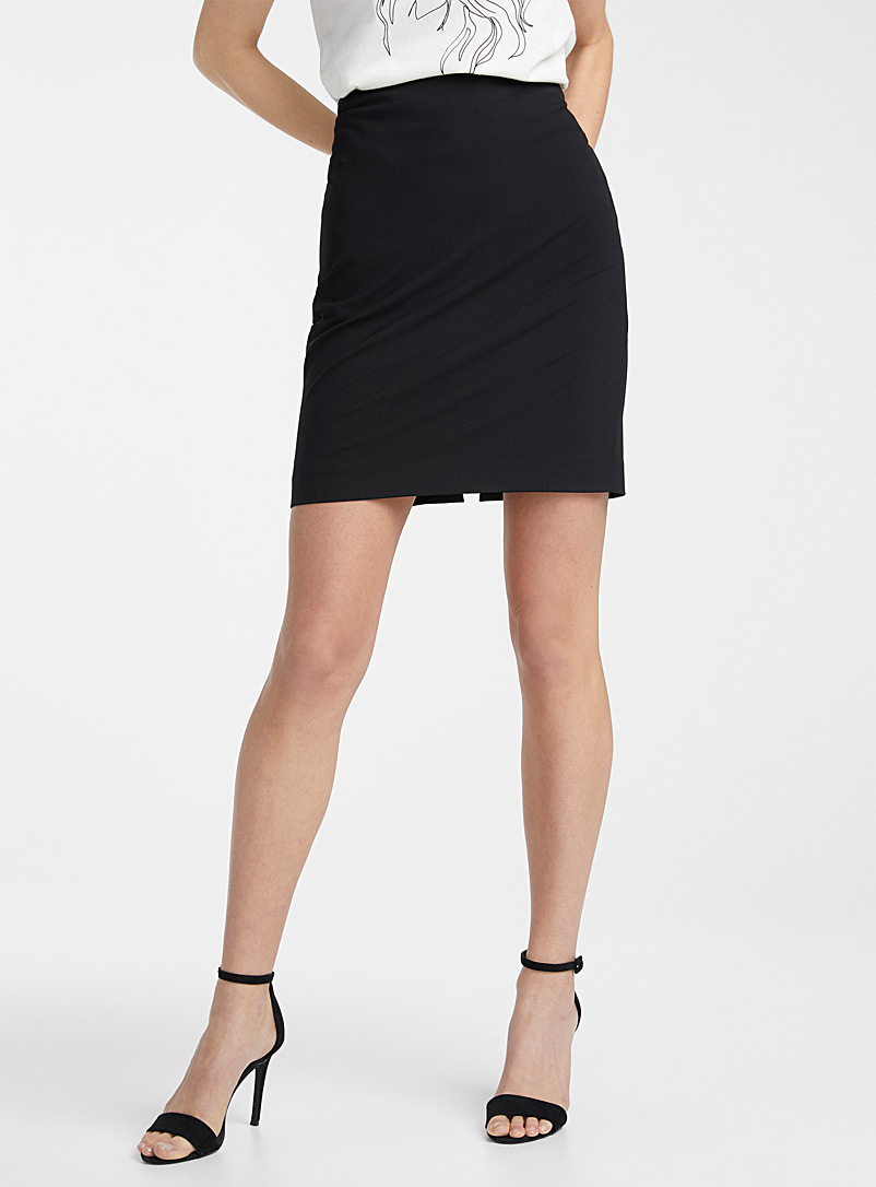 Icône Black Recycled polyester suit skirt for women