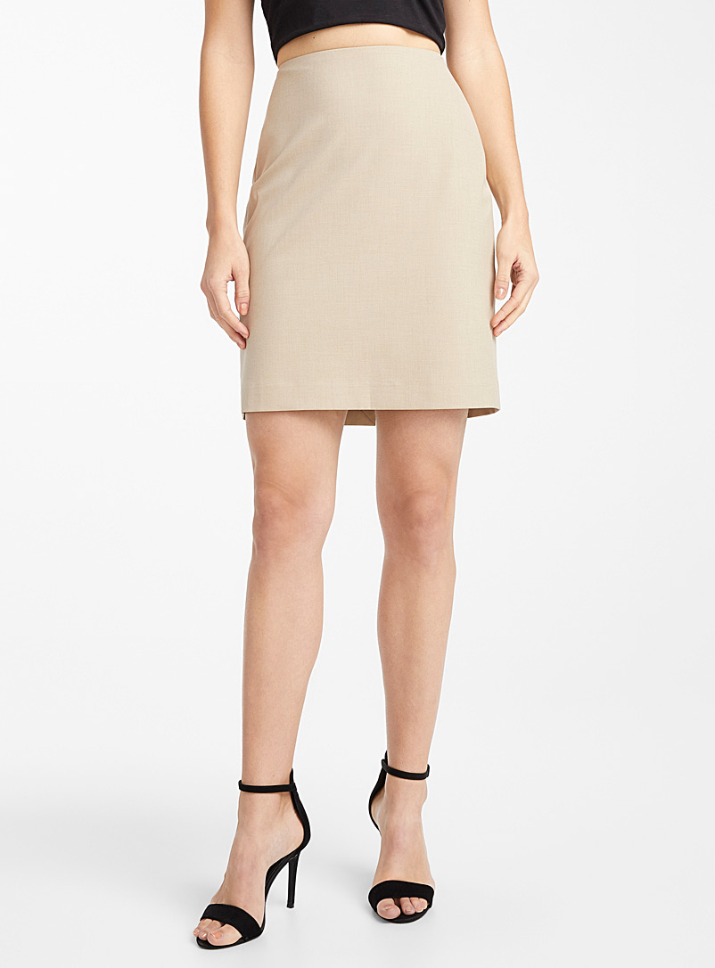 Ic?ne Cream Beige Recycled polyester suit skirt for women