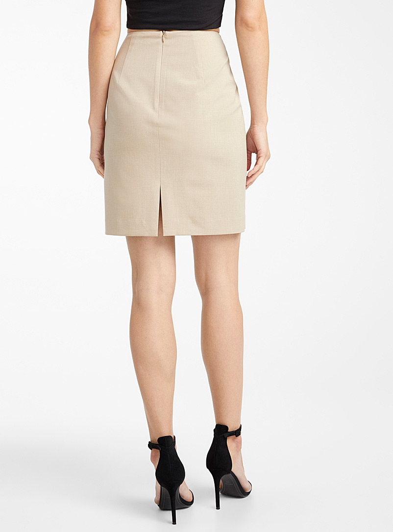 Icône Cream Beige Recycled polyester suit skirt for women