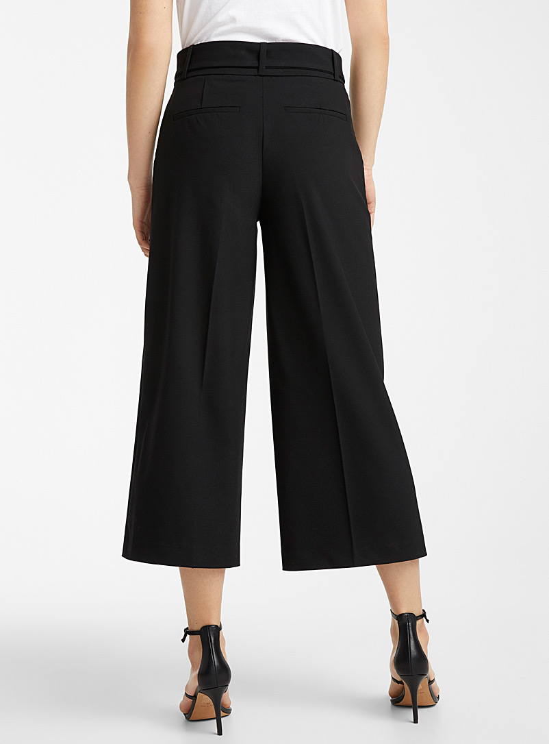 Icône Black Recycled polyester belted wide-leg pant for women
