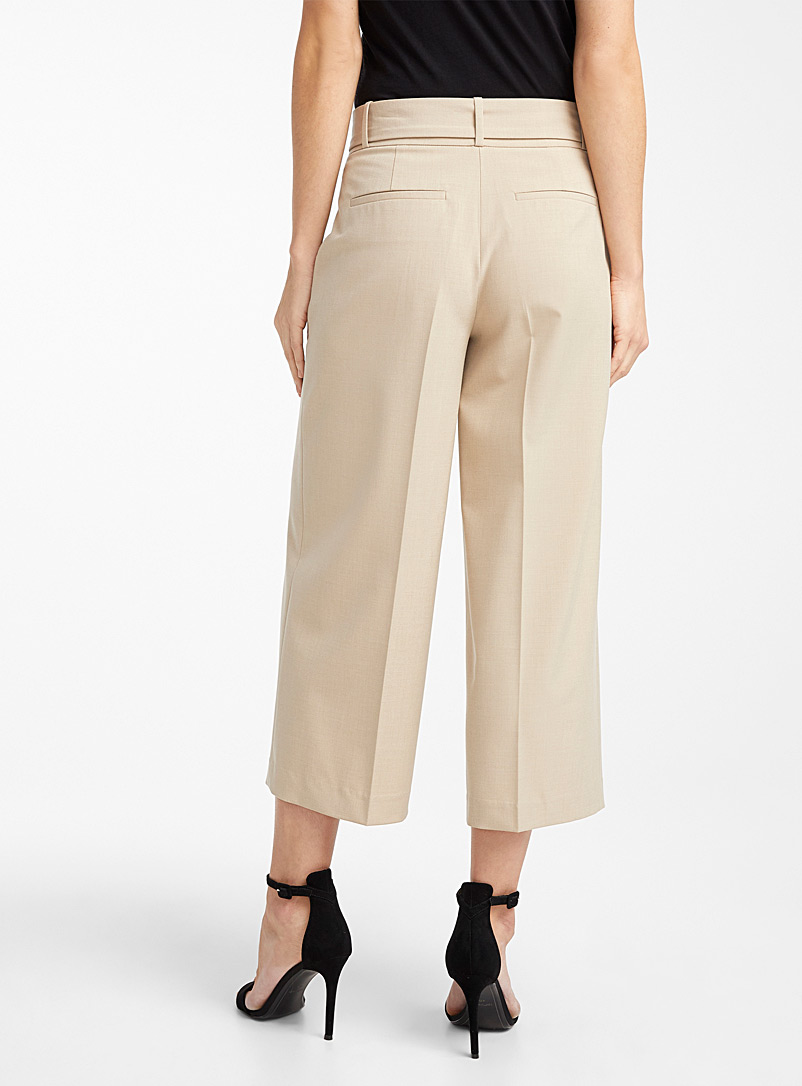 Icône Cream Beige Recycled polyester belted wide-leg pant for women