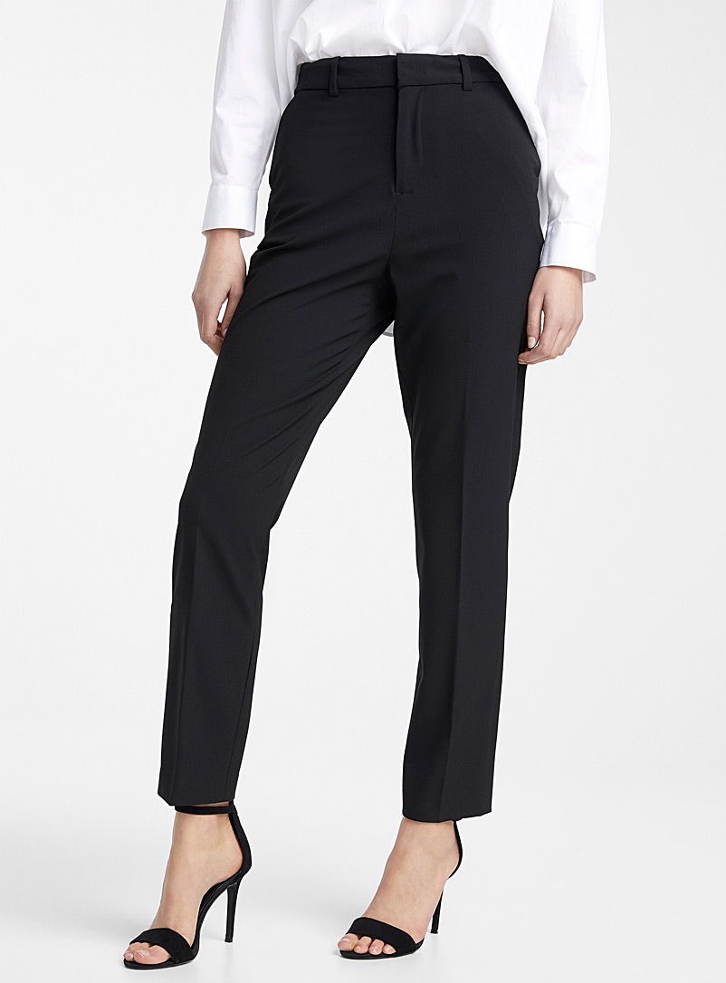 Icône Black Recycled polyester essential straight pant for women