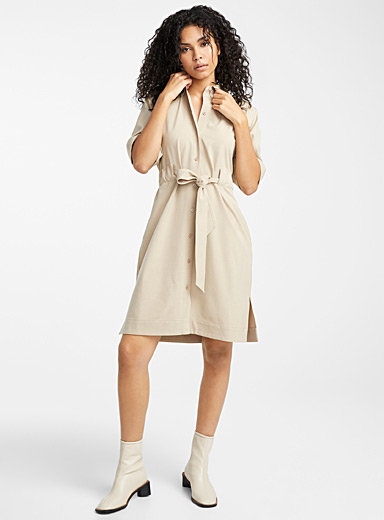 Belted recycled polyester shirtdress