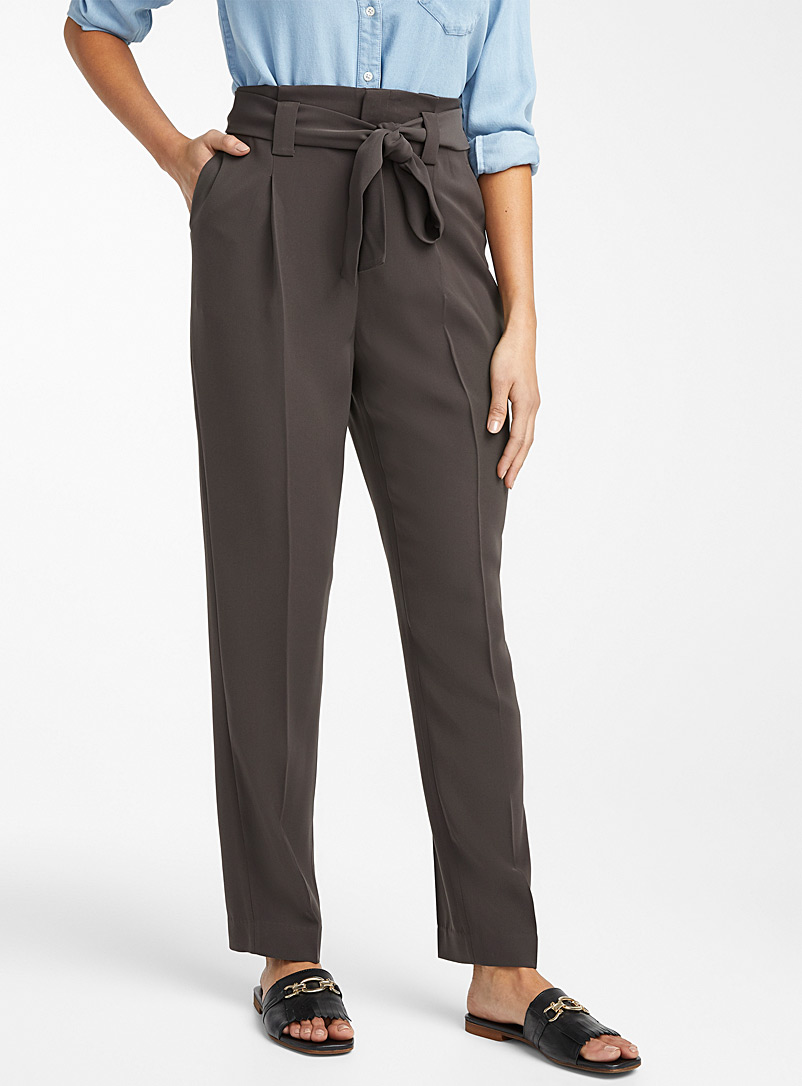 Contemporaine Black Tie-belt fluid pant for women