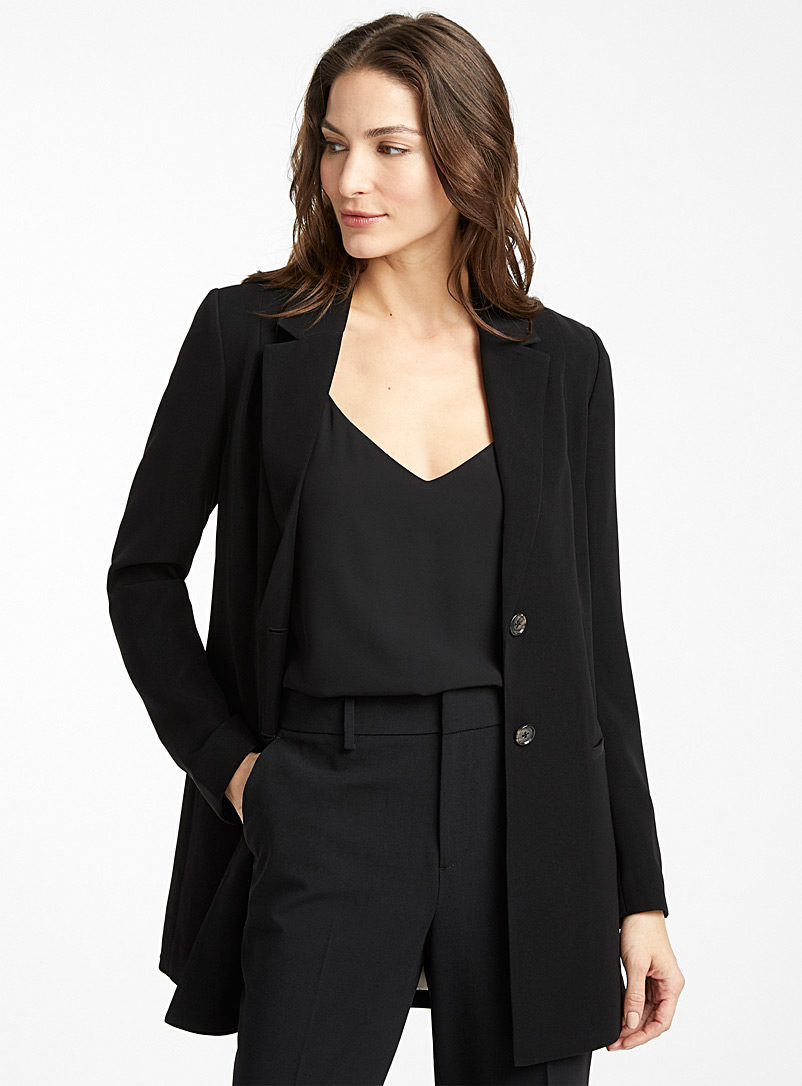 Contemporaine Black Long fluid two-button jacket for women