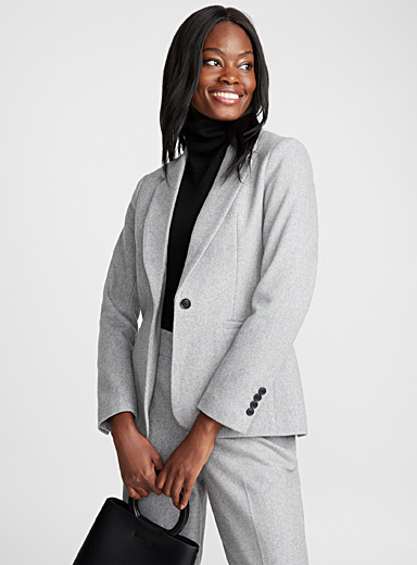 Rich wool single-button jacket
