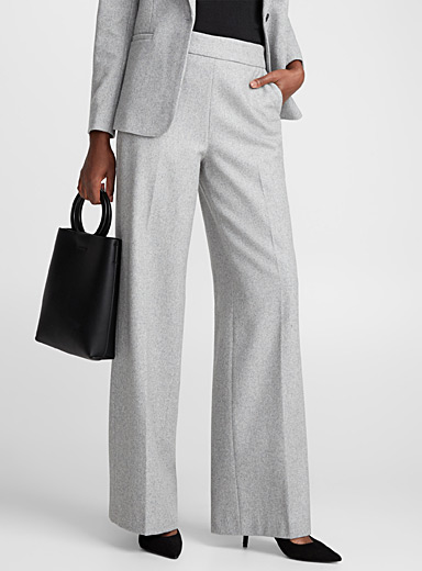 Rich wool wide-leg pant