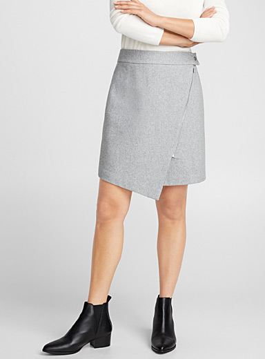 Rich wool asymmetric zip skirt