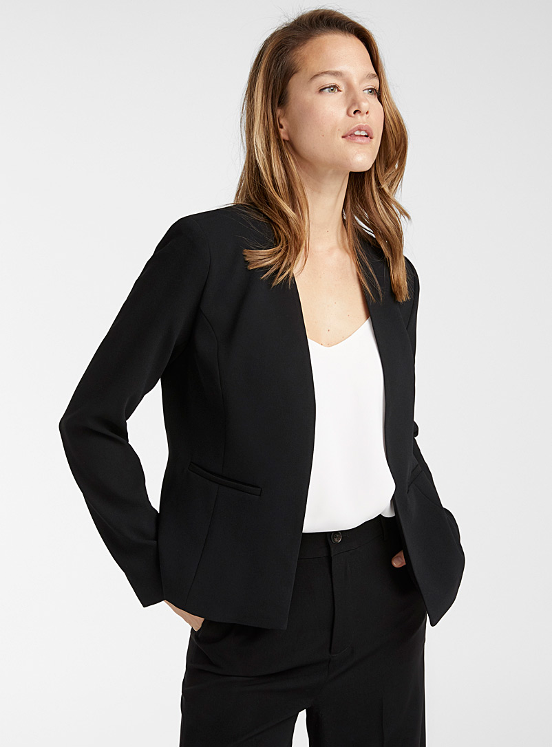 Contemporaine Black Open lapel-free jacket for women