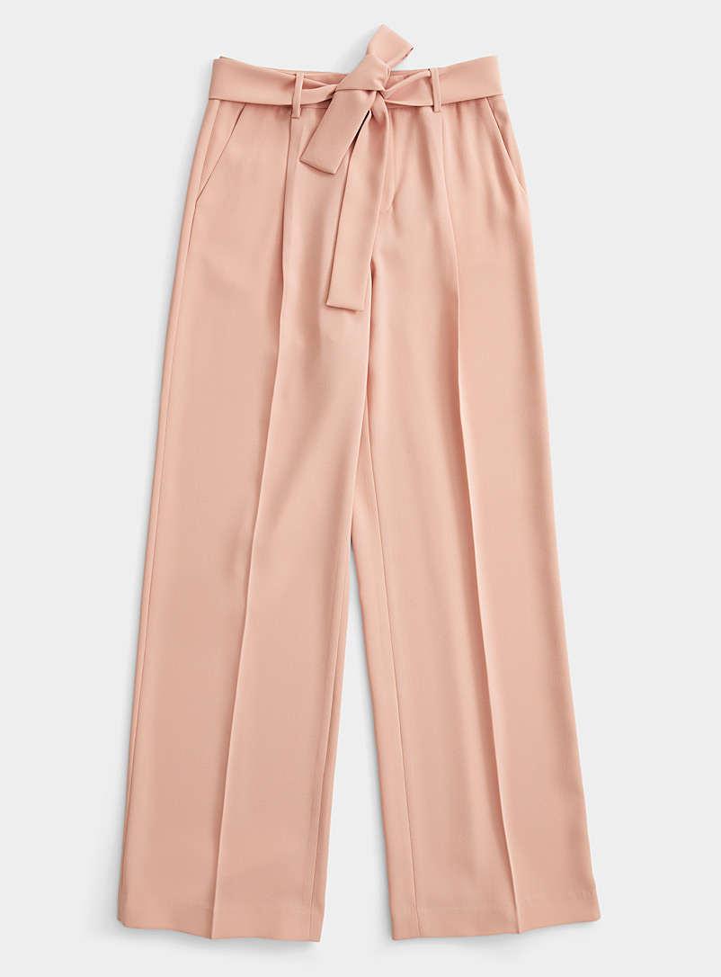 Contemporaine Pink Tie-belt wide-leg pant for women