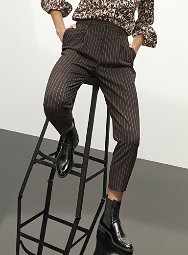 Icône Patterned Brown Recycled polyester chic suit pant for women