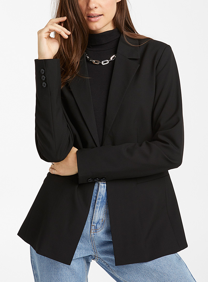 Icône Black One-button recycled polyester straight blazer for women