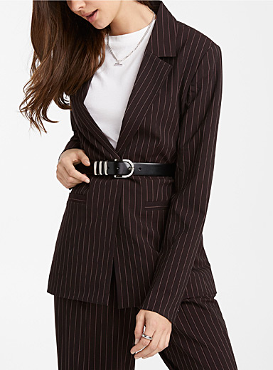 One-button recycled polyester straight blazer