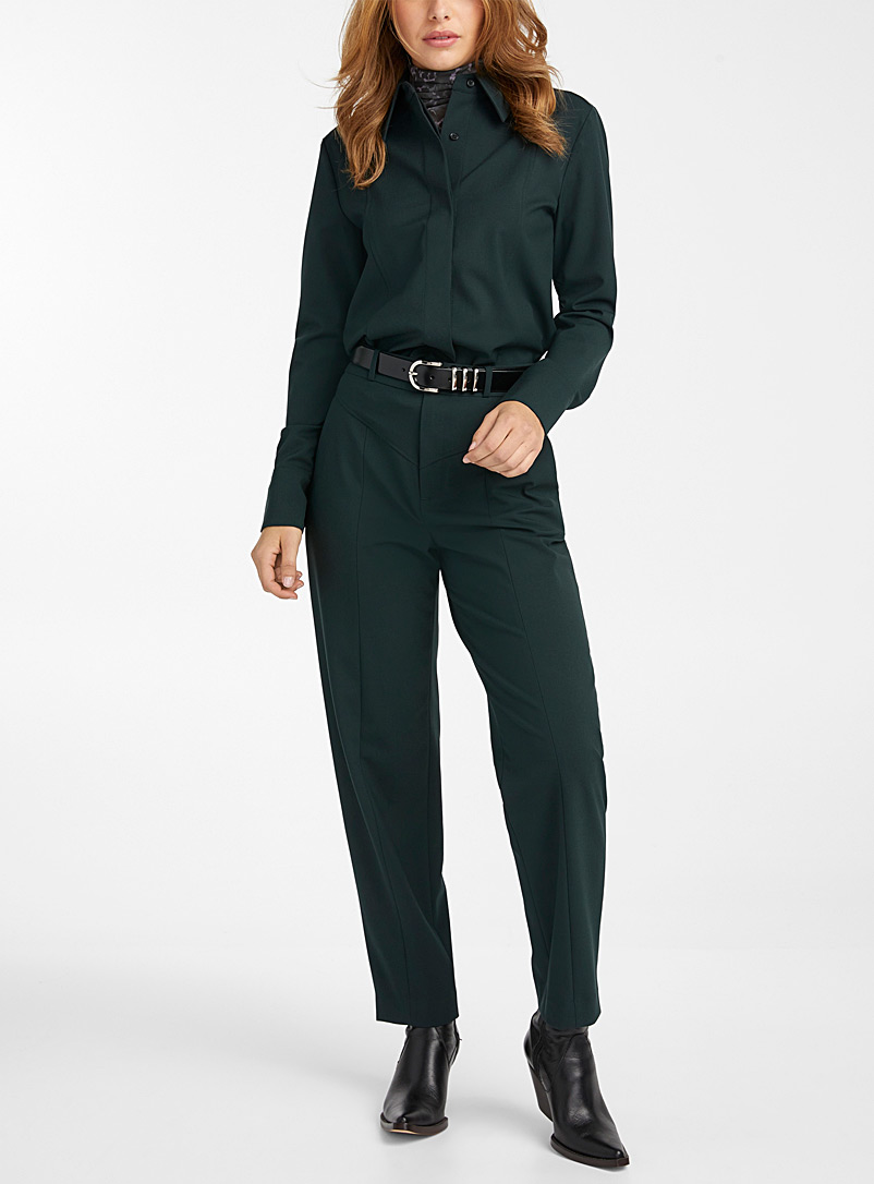 Icône Black Recycled polyester V-seam dress pant for women
