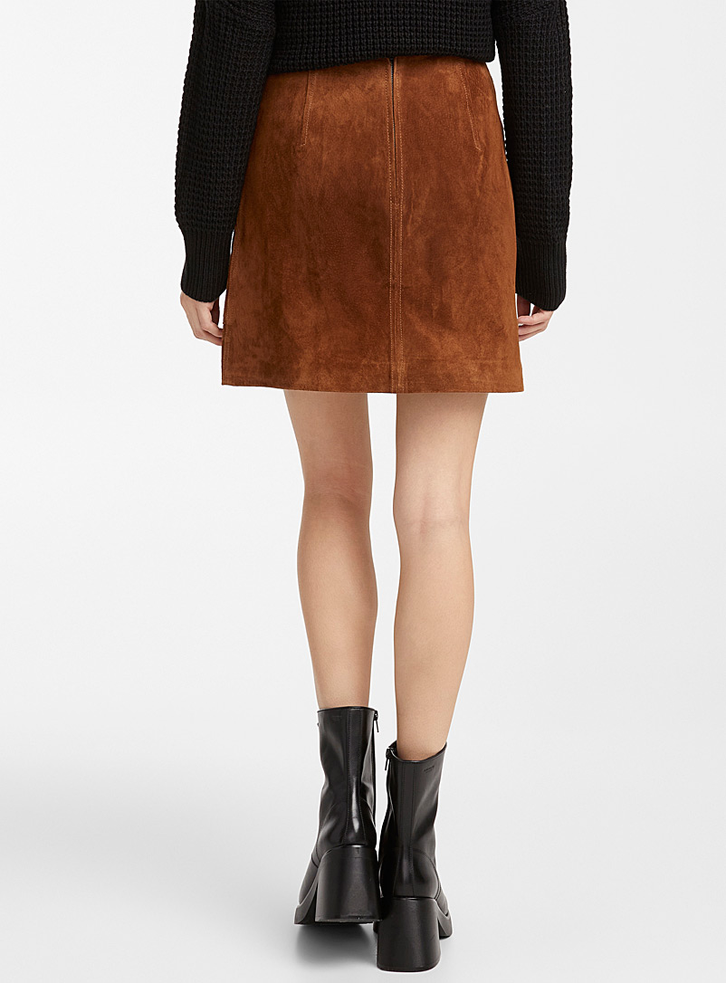 Icône Medium Brown Genuine suede miniskirt for women