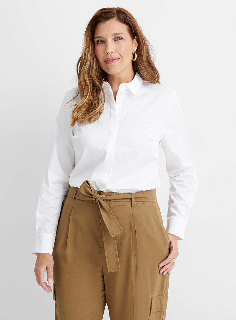 Contemporaine White Organic cotton poplin shirt for women