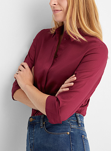 Contemporaine Cherry Red Organic cotton poplin shirt for women
