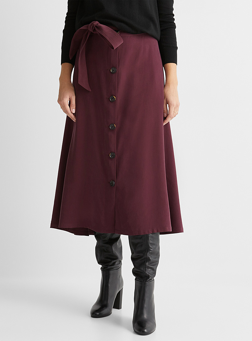Contemporaine Dark Crimson Peachskin buttoned midi skirt for women