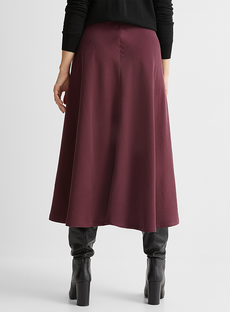 Contemporaine Dark Blue Peachskin buttoned midi skirt for women