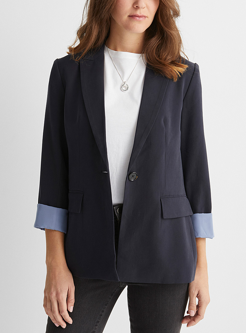 Contemporaine Dark Blue Peachskin single-button blazer for women