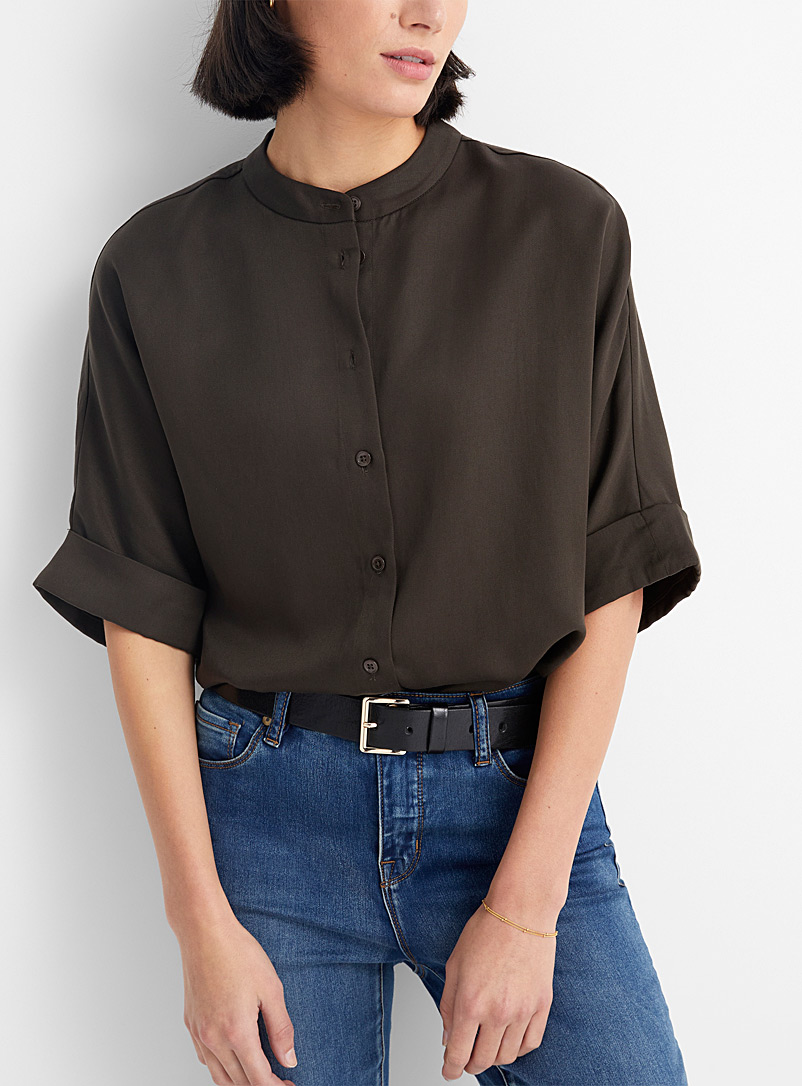 Contemporaine Dark Brown Loose TENCEL* Lyocell shirt for women