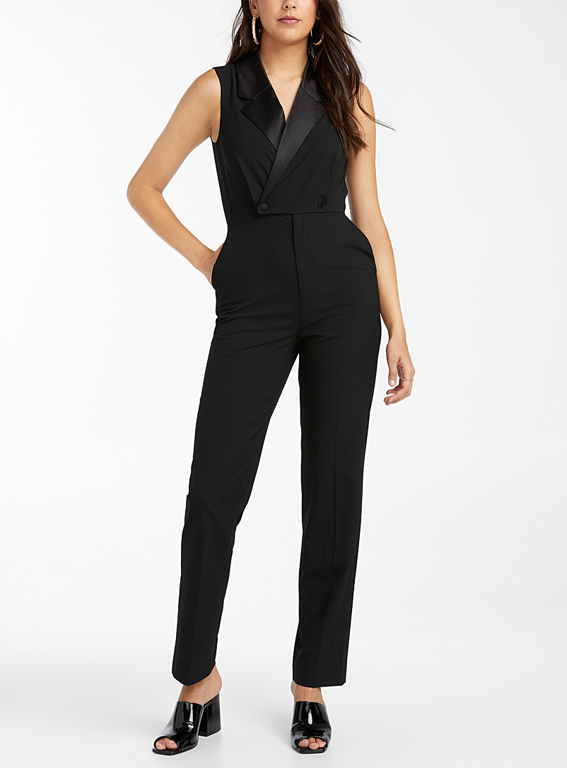 Icône Black Recycled polyester tuxedo jumpsuit for women
