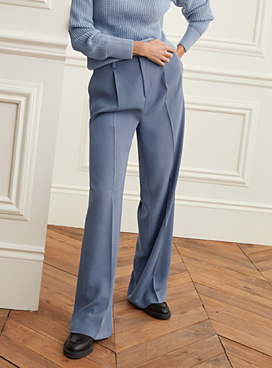 Contemporaine Slate Blue Pleated waist soft wide-leg pant for women
