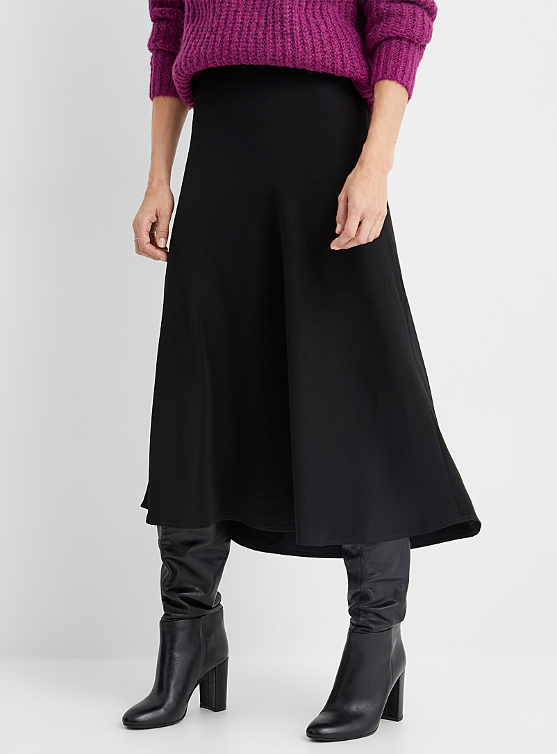 Contemporaine Black Soft midi skirt for women