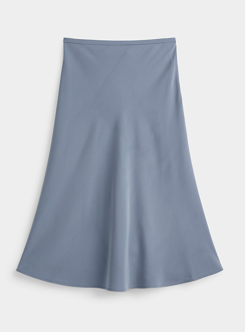 Contemporaine Slate Blue Soft midi skirt for women